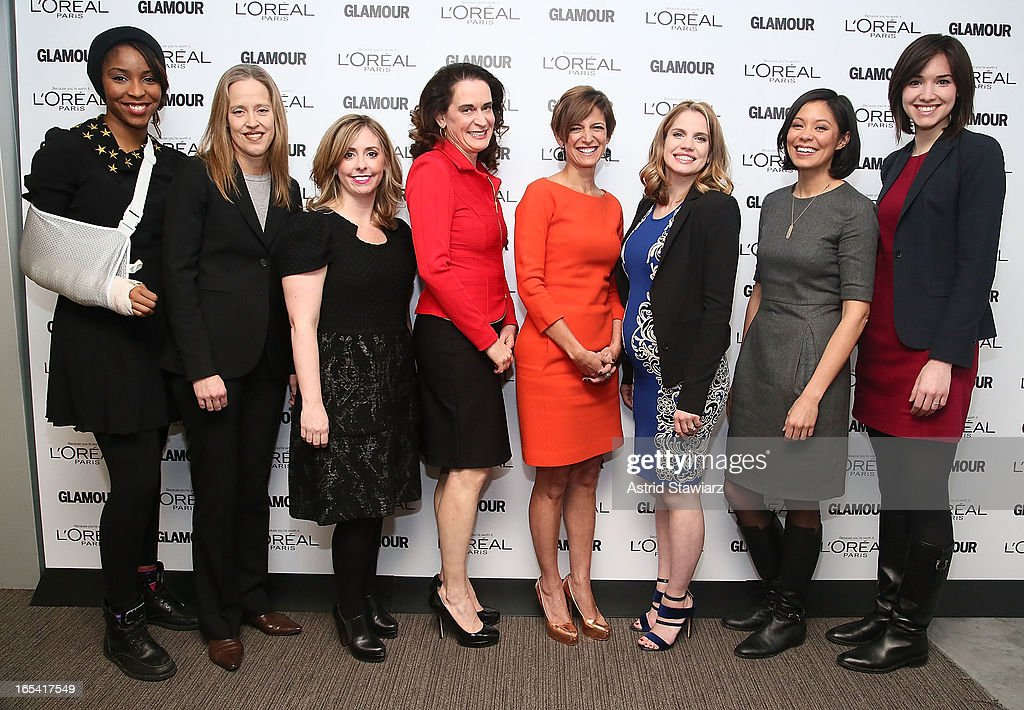 Jessica Williams, Wendy Kopp, Mora Neilson, Debora L. Spar, Cindi Leive, Anna Chlumsky, Alex Wagner and Rachel Sterne Haot attend the Glamour And L'Oreal Paris Celebration for the Top Ten College Women at The Diana Center At Barnard College on April 3, 2013 in New York City.