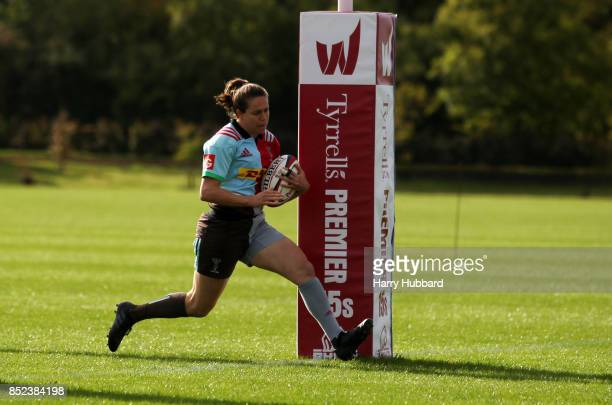 Jessica Wooden of Harlequins Ladies scores a try during the Tyrrells Premier 15s match between Harlequins Ladies and Firwood Waterloo Ladies at...