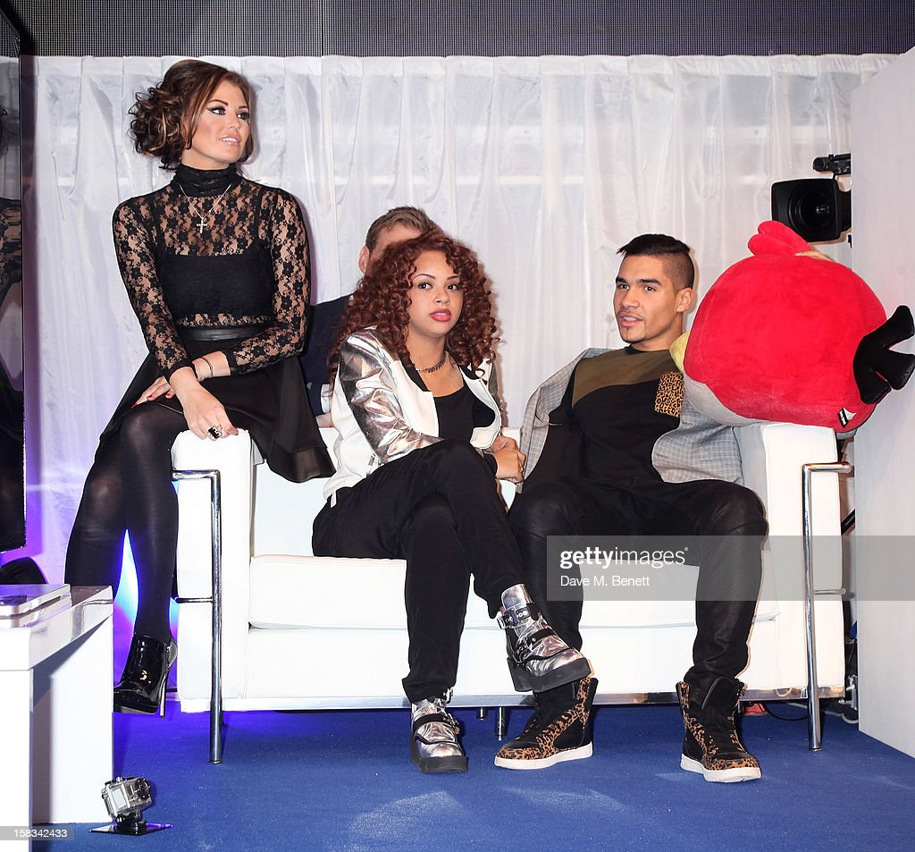 Jessica Wright, Alexis Jordan and Louis Smith attend the Samsung Smart TV Angry Birds Party at Westfield Stratford City on December 13, 2012 in London, England.