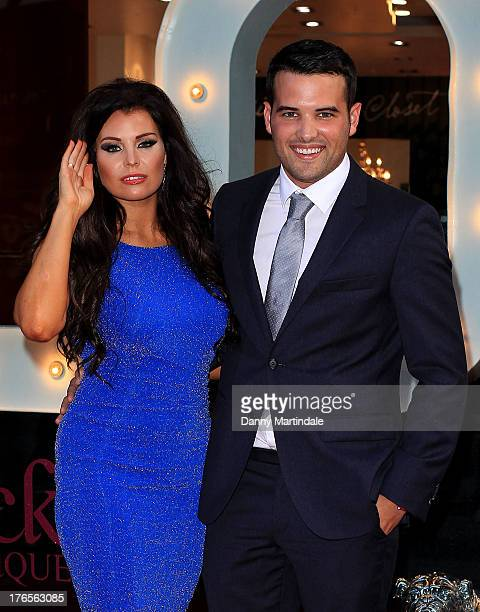 Jessica Wright and boyfriend Ricky Rayment attend Jessica Wright launch of a new popup store at Westfield Stratford City on August 15 2013 in London...