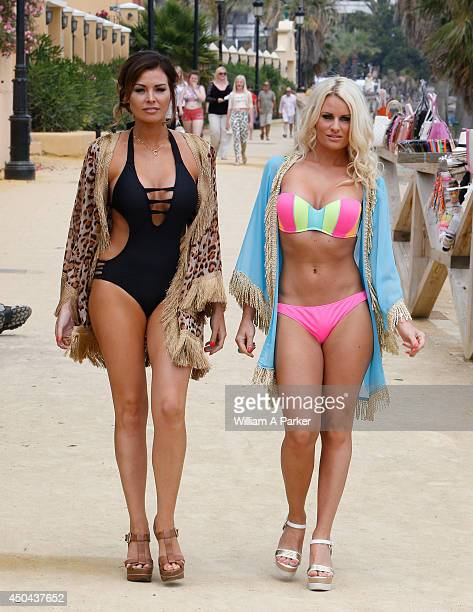 Jessica Wright and Danielle Armstrong spotted filming for The Only Way Is Essex at Sala Beach on June 11 2014 in Marbella