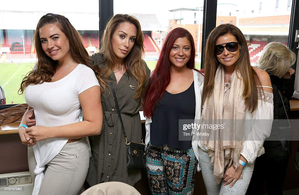 Jessica Wright (L) and friends attend a Charity football match in aid of St Joseph's Hospice and Haven House Children's Hospice at Leyton Orient Matchroom Stadium on May 17, 2015 in London, England.