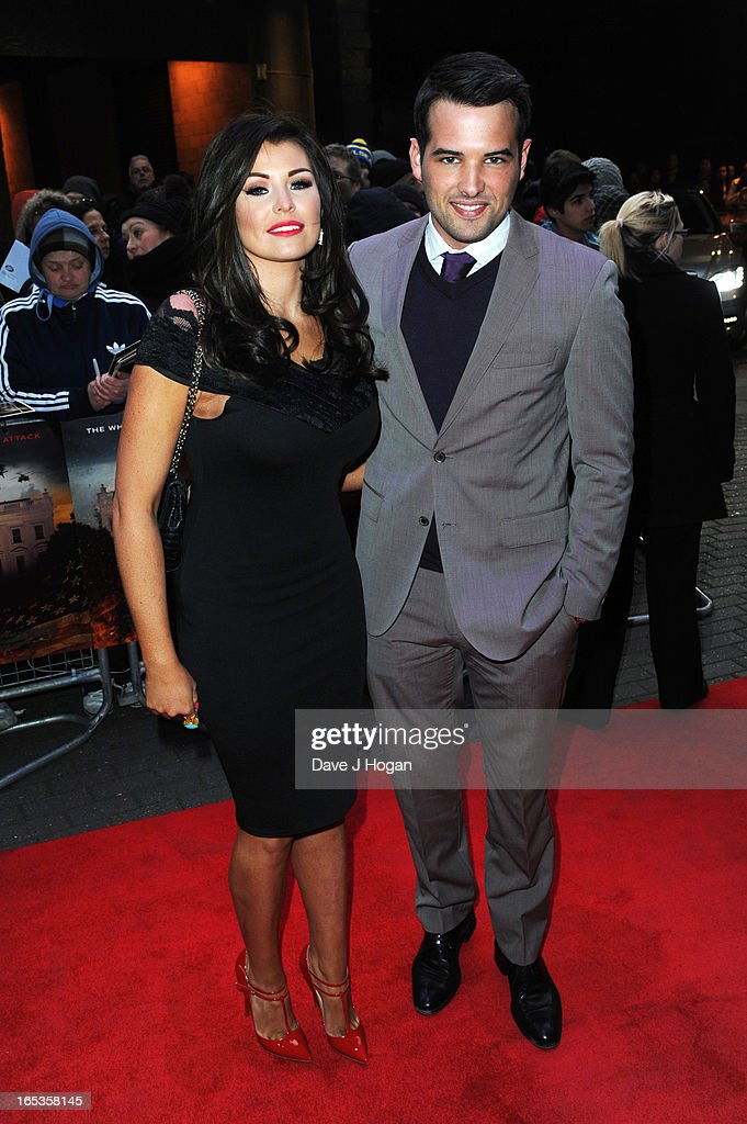 Jessica Wright and Ricky Rayment attend the UK premiere of 'Olympus Has Fallen' at The IMAX on April 03, 2013 in London, England.