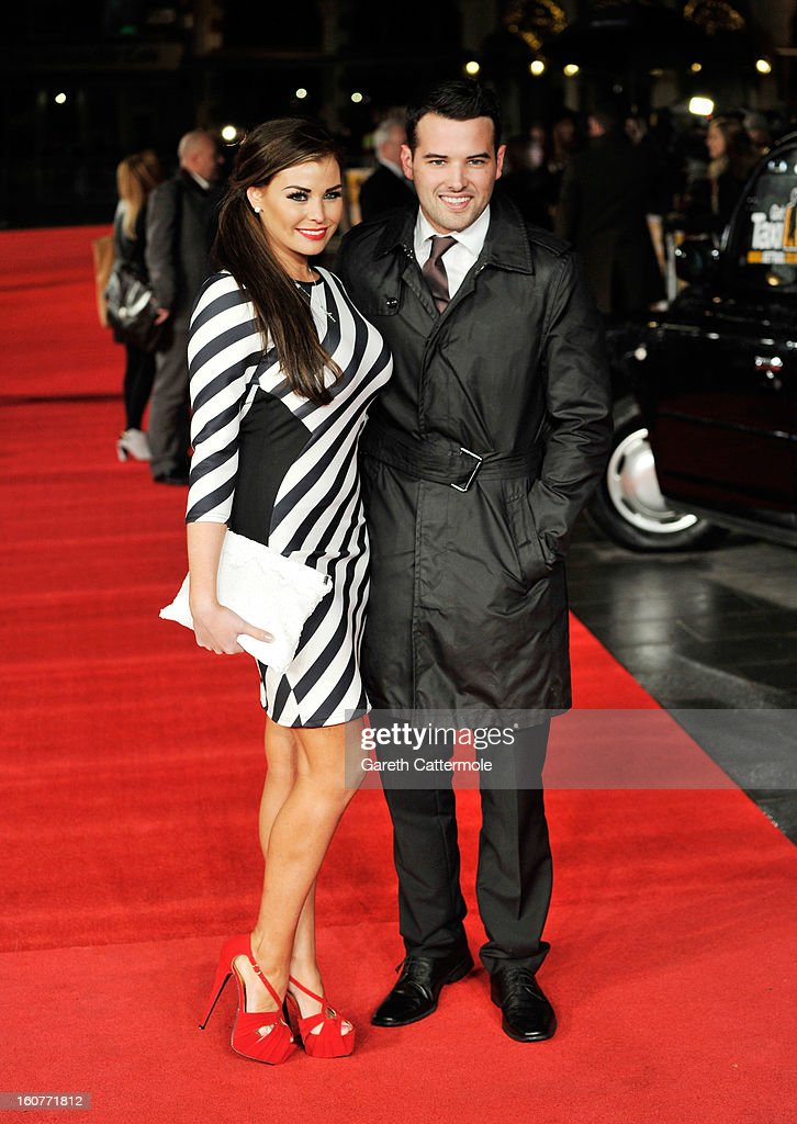 Jessica Wright and Ricky Rayment attend the UK Premiere of 'Run For Your Wife' at Odeon Leicester Square on February 5 2013 in London England