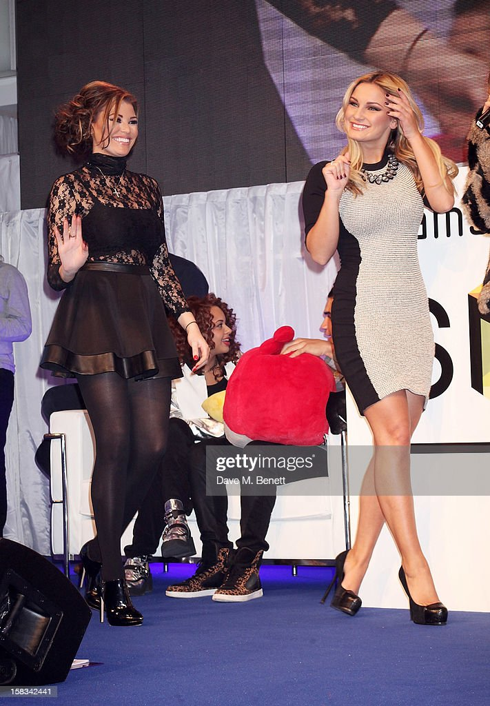 Jessica Wright (L) and Sam Faiers attend the Samsung Smart TV Angry Birds Party at Westfield Stratford City on December 13, 2012 in London, England.