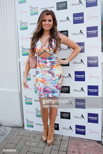 Jessica Wright arrives at Funkymojoe to attend the La Mode Academy Charity Catwalk show in aid of Haven House on March 28 2013 in London England
