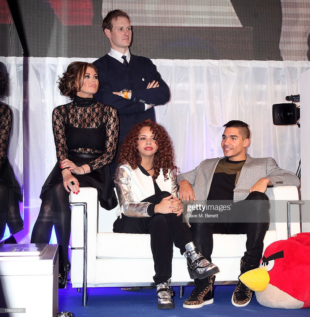 Jessica Wright, Dan Walker, Alexis Jordan and Louis Smith attend the Samsung Smart TV Angry Birds Party at Westfield Stratford City on December 13, 2012 in London, England.