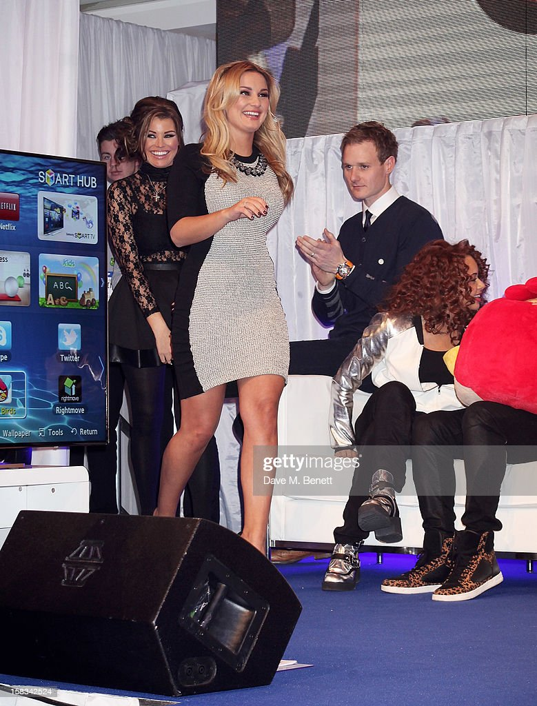 Jessica Wright, Sam Faiers, Dan Walker and Alexis Jordan attend the Samsung Smart TV Angry Birds Party at Westfield Stratford City on December 13, 2012 in London, England.