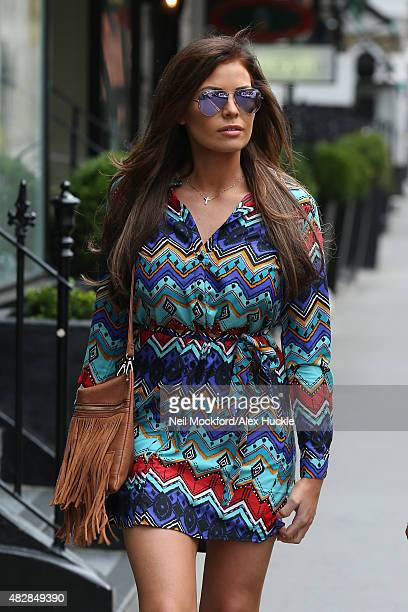 Jessica Wright visits the Tracy Giles bespoke make up salon in Knightsbridge on August 3 2015 in London England