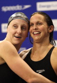 Jessicah Schipper and Libby Trickett of Australia celebrate after competing in the Womens 100 Metre Butterfly during day two of the Australian...