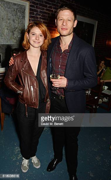 Jessie Buckley and James Norton attend the press night performance of 'Bug' at Found111 on March 29 2016 in London England