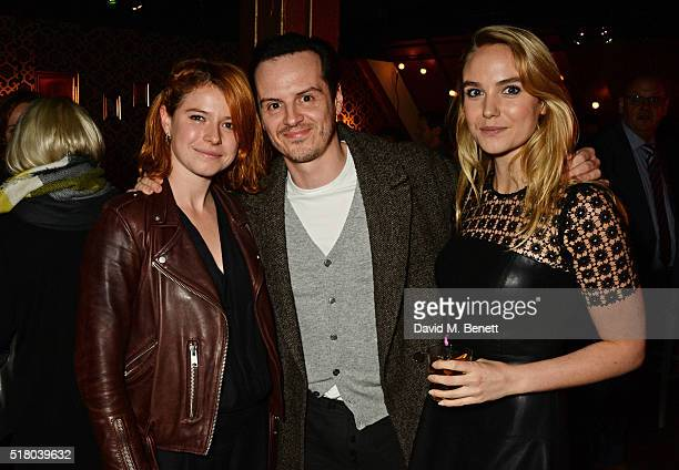 Jessie Buckley Andrew Scott and Joanna Vanderham attend the press night performance of 'Bug' at Found111 on March 29 2016 in London England