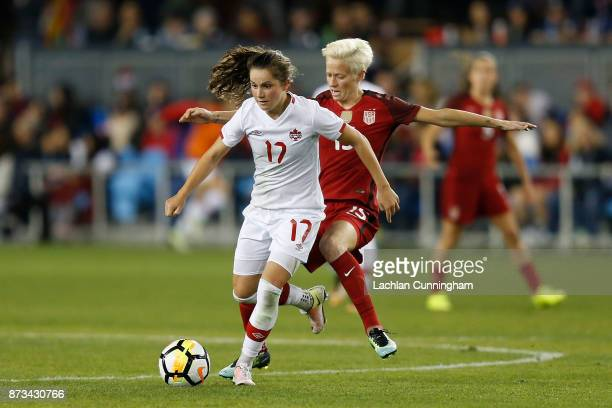 Jessie Fleming of Canada competes against Megan Rapinoe of the United States during a friendly match at Avaya Stadium on November 12 2017 in San Jose...
