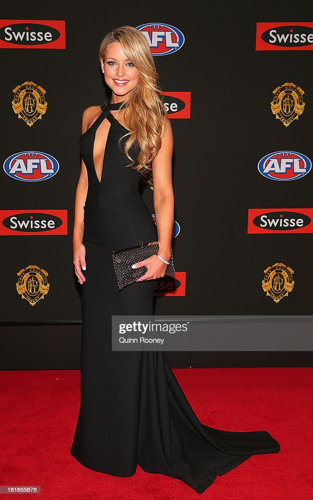 Jessie Habermann the partner of Marc Murphy of the Blues poses ahead of the 2013 Brownlow Medal at Crown Palladium on September 23, 2013 in Melbourne, Australia.