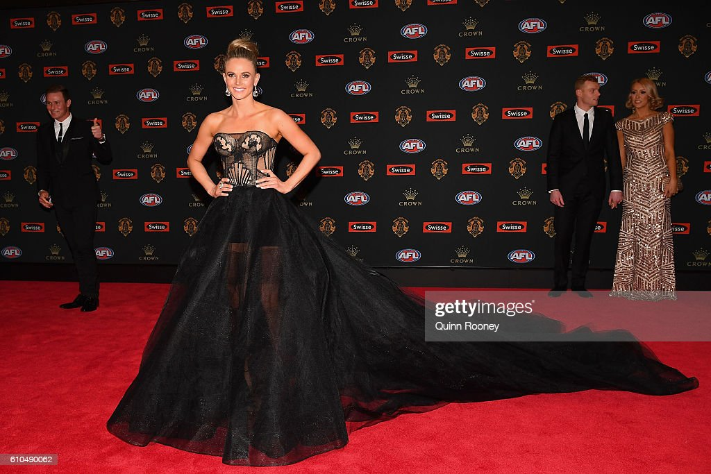 Jessie Hultgren the partner of David Armitage of the Saints arrives ahead of the 2016 Brownlow Medal at Crown Entertainment Complex on September 26, 2016 in Melbourne, Australia.