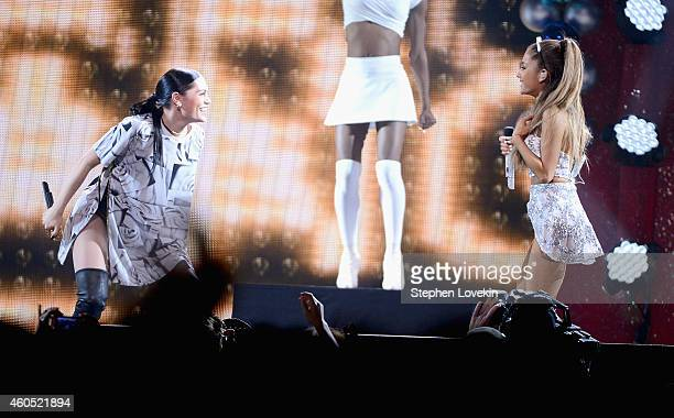 Jessie J and Ariana Grande perform onstage during HOT 995's Jingle Ball 2014 Presented by Mattress Warehouse at the Verizon Center on December 15...