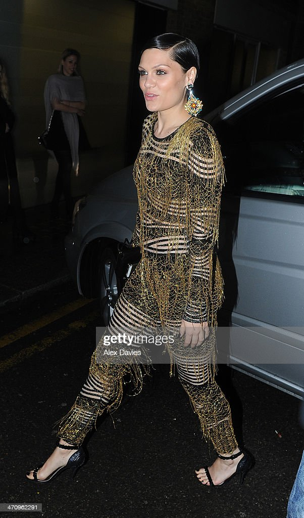 Jessie J arriving at the Universal music Brits afterparty on February 19, 2014 in London, England.
