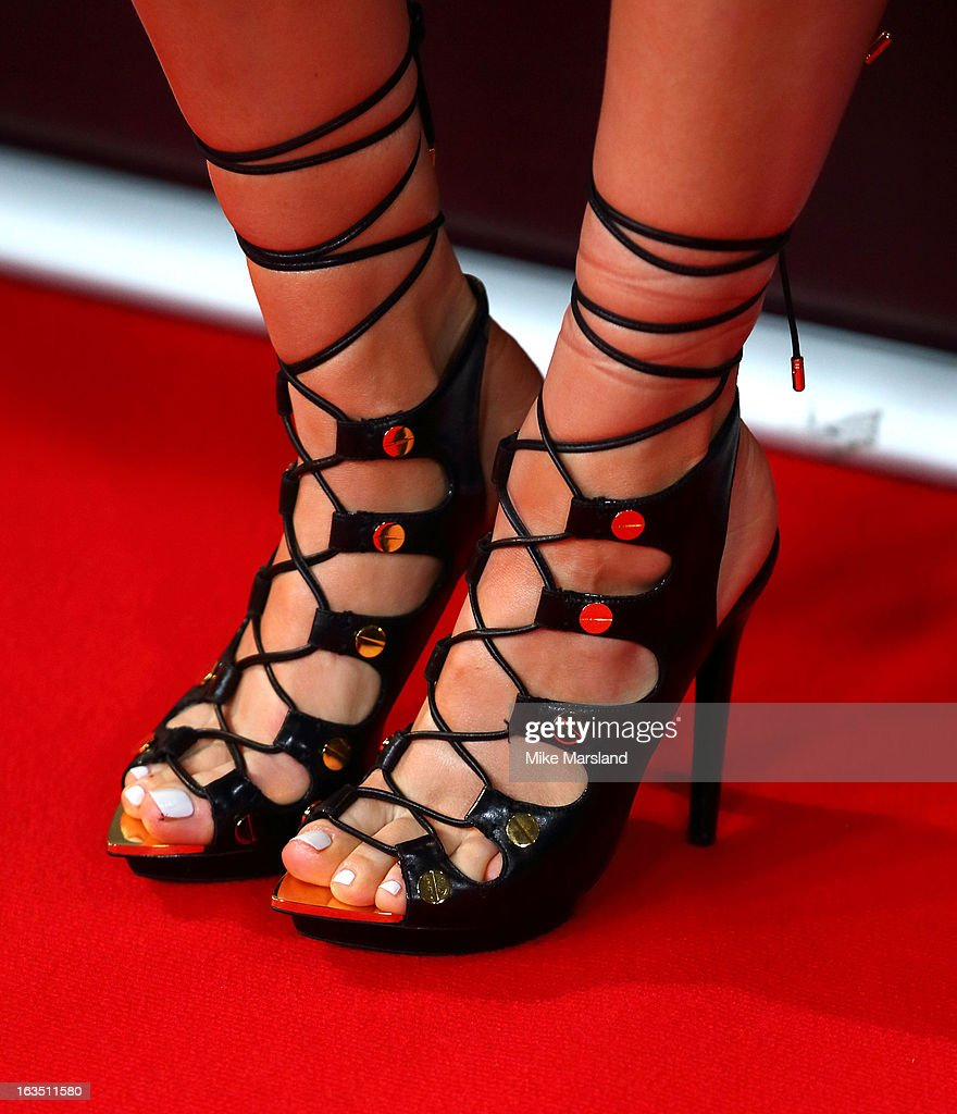 Jessie J (shoe detail) attends a photocall to launch the second series of The Voice at Soho Hotel on March 11, 2013 in London, England.