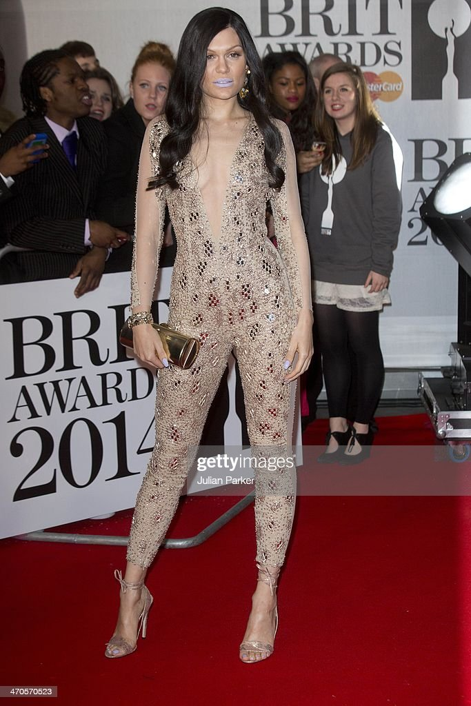 <a gi-track='captionPersonalityLinkClicked' href=/galleries/search?phrase=Jessie+J&family=editorial&specificpeople=5737661 ng-click='$event.stopPropagation()'>Jessie J</a> attends The BRIT Awards 2014 at 02 Arena on February 19, 2014 in London, England.