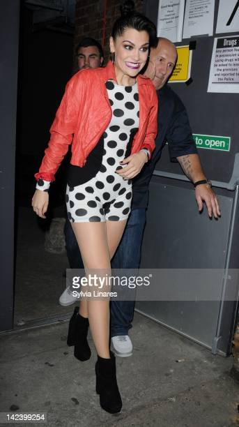Jessie J leaves The Bankside Vaults also known as Pulse on April 3 2012 in London England Around 450 guests including a number of celebrities...