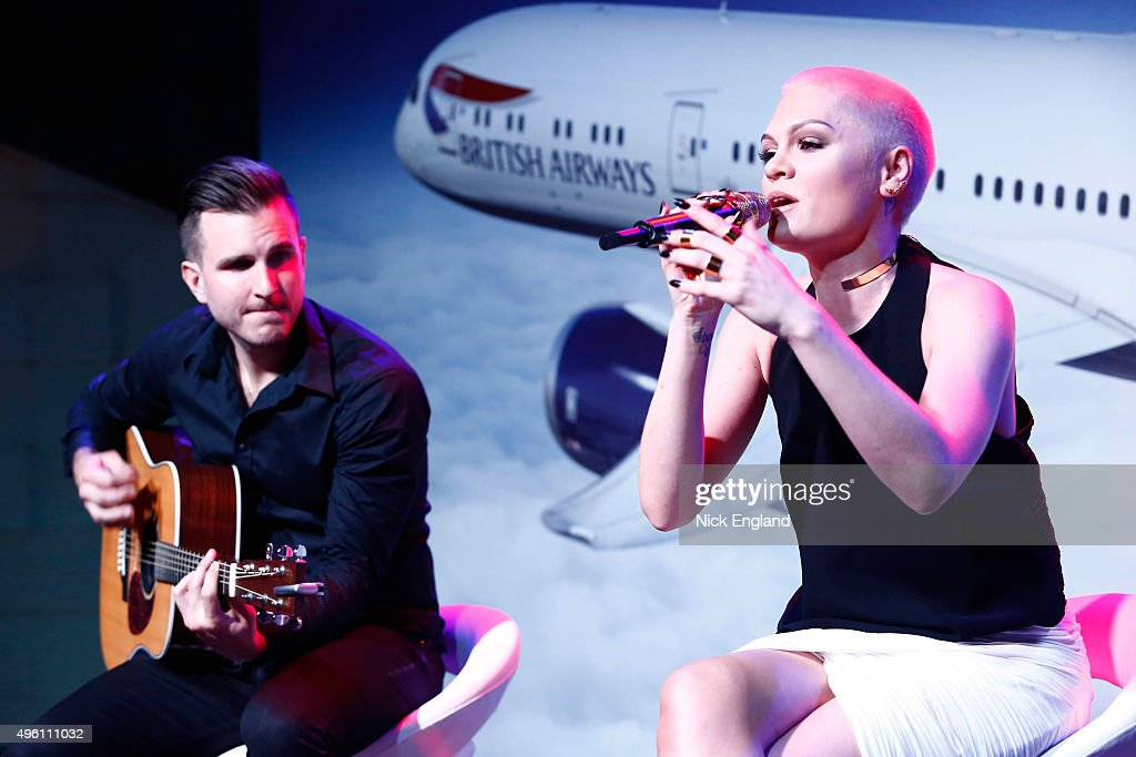 Jessie J. (R) performs at the British Airways celebration of the launch of its new Boing 787-9 Dreamliner on its daily London-Abu Dhabi-Muscat service. British Airways hosts a secret island party with Australian actress Margot Robbie, Hollywood star Orlando Bloom and a surprise live performance from chart star and judge of TV's The Voice, Jessie J. at Zaya Nurai Island on November 6, 2015 in Abu Dhabi, United Arab Emirates.