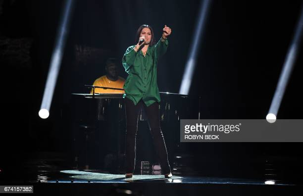 CORRECTION Jessie J performs at WE Day performs on stage at WE Day California April 27 2017 at The Forum in Inglewood California WE Day California is...