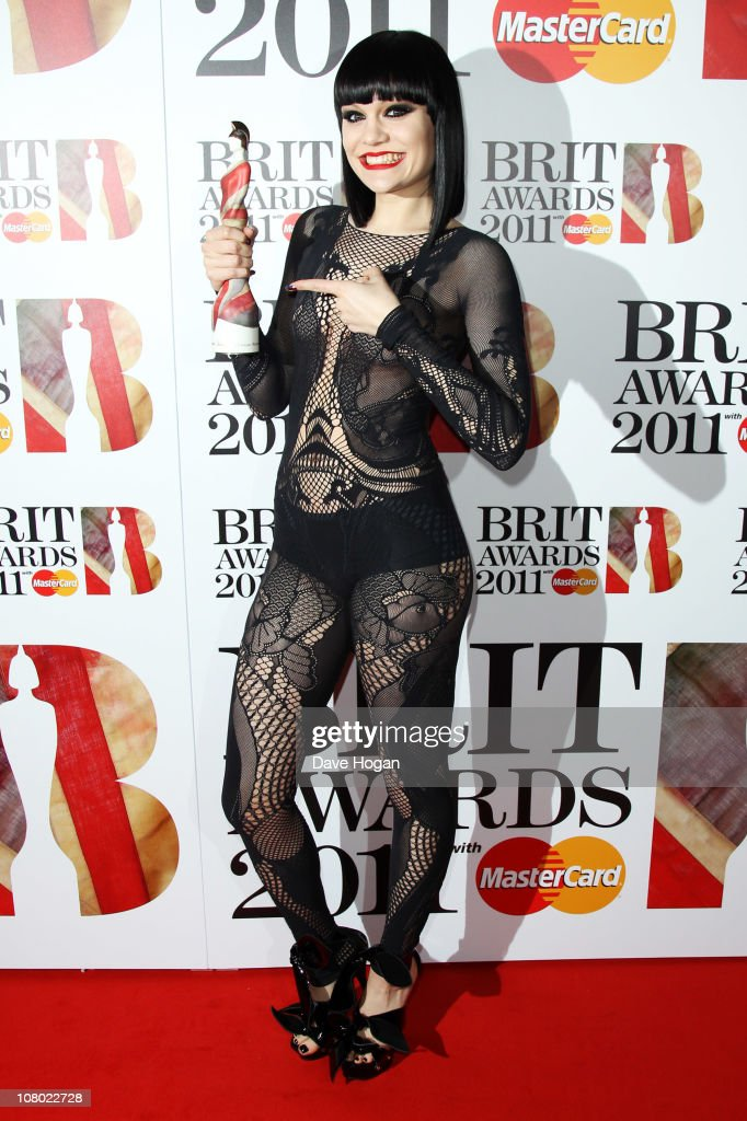 <a gi-track='captionPersonalityLinkClicked' href=/galleries/search?phrase=Jessie+J&family=editorial&specificpeople=5737661 ng-click='$event.stopPropagation()'>Jessie J</a> poses with her Critics Choice Award at The Brit Awards 2011 nominations announcement held at Indigo at The O2 Arena on January 13, 2011 in London, England.