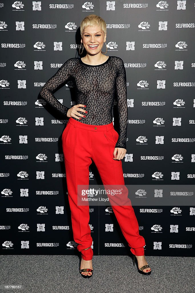 <a gi-track='captionPersonalityLinkClicked' href=/galleries/search?phrase=Jessie+J&family=editorial&specificpeople=5737661 ng-click='$event.stopPropagation()'>Jessie J</a> prepares to switch on the Oxford Street Christmas lights at Selfridges on Oxford Street on November 12, 2013 in London, England. 5.15pm Tuesday 12th November 2013: Pop sensation <a gi-track='captionPersonalityLinkClicked' href=/galleries/search?phrase=Jessie+J&family=editorial&specificpeople=5737661 ng-click='$event.stopPropagation()'>Jessie J</a> was joined by James Arthur and Conor Maynard ahead of a one-off, exclusive performance to Oxford Street shoppers ahead of switching on the £1.5 million new lighting scheme for Christmas.