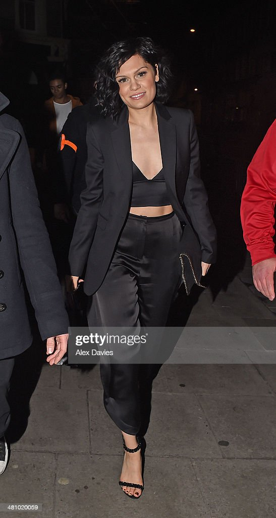 Jessie J seen leaving her 26th birthday party bash in london at oslo bar in hackney.The do it like a dude singer was seen leaving wearing a two piece black trendy stylist suit with a crop top showing off her toned body. on March 28, 2014 in London, England.