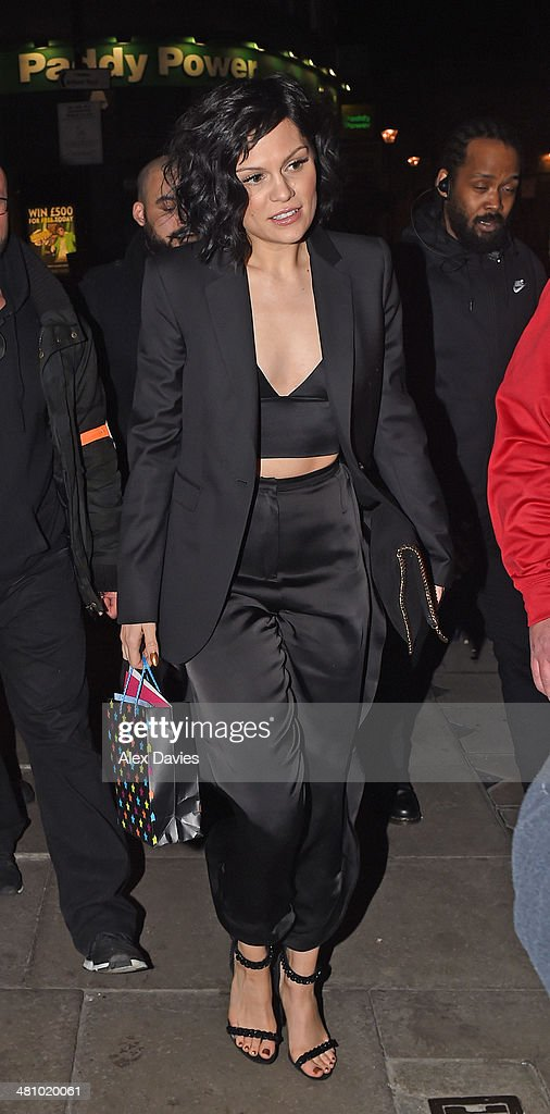 <a gi-track='captionPersonalityLinkClicked' href=/galleries/search?phrase=Jessie+J&family=editorial&specificpeople=5737661 ng-click='$event.stopPropagation()'>Jessie J</a> seen leaving her 26th birthday party bash in london at oslo bar in hackney.The do it like a dude singer was seen leaving wearing a two piece black trendy stylist suit with a crop top showing off her toned body. on March 28, 2014 in London, England.