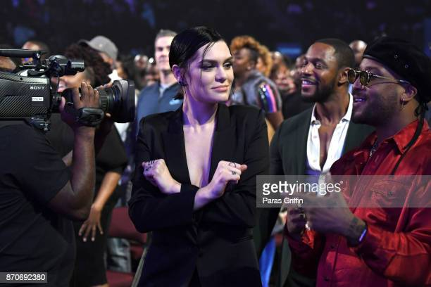 Jessie J Tank and Ro James attend the 2017 Soul Train Awards presented by BET at the Orleans Arena on November 5 2017 in Las Vegas Nevada