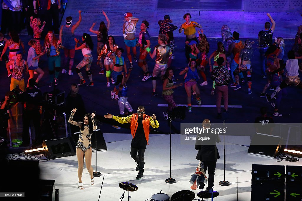 Jessie J, Tinie Tempah and Taio Cruz perform during the Closing Ceremony on Day 16 of the London 2012 Olympic Games at Olympic Stadium on August 12, 2012 in London, England.
