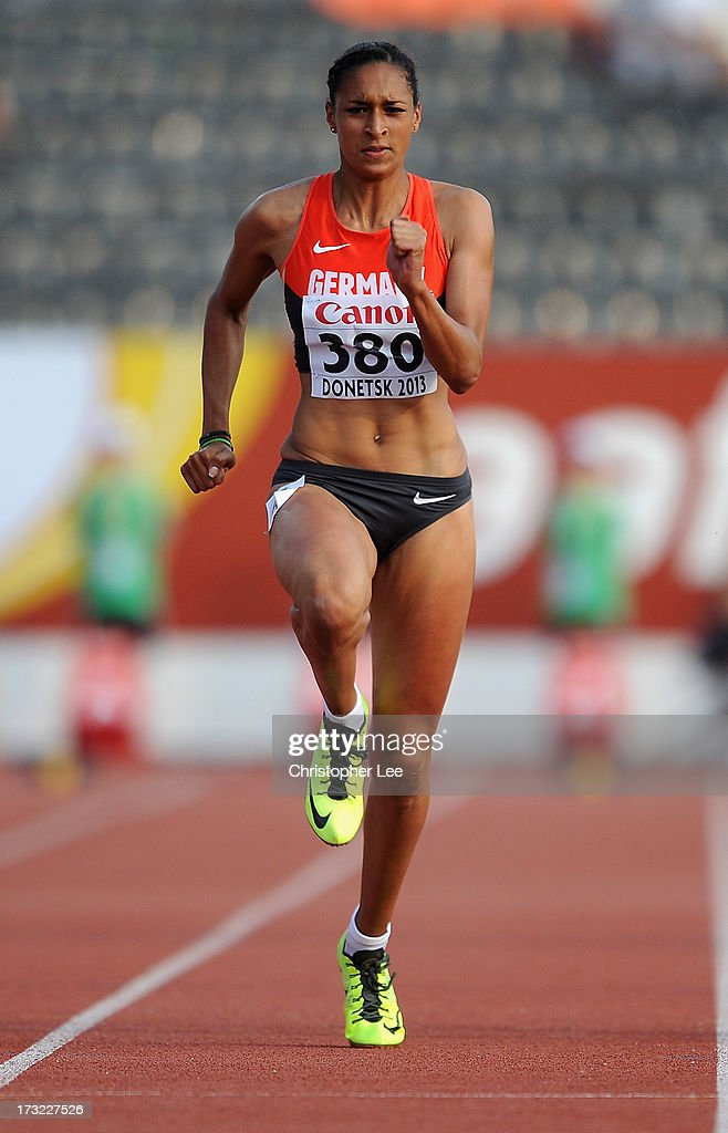 Jessie Maduka of Germany in the Girls 100m Round 1 during Day 1 of the IAAF World Youth Championships at the RSC Olimpiyskiy Stadium on July 10, 2013 in Donetsk, Ukraine.