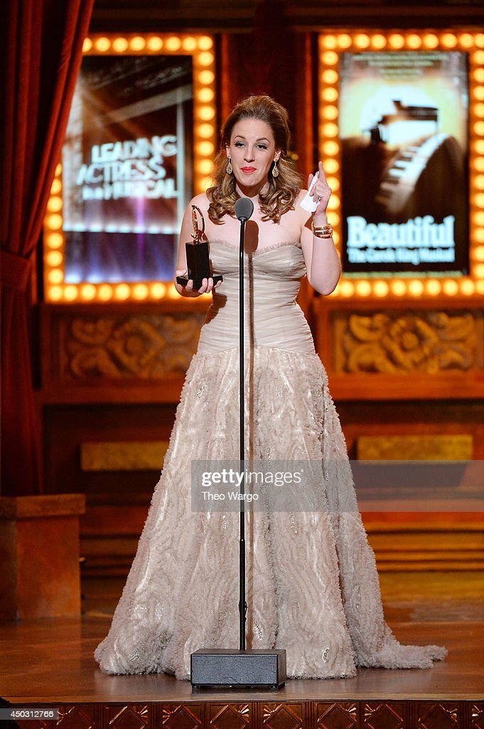 """Jessie Mueller accepts the award for Best Performance by an Actress in a Leading Role in a Musical for """"Beautiful' onstage during the 68th Annual..."""