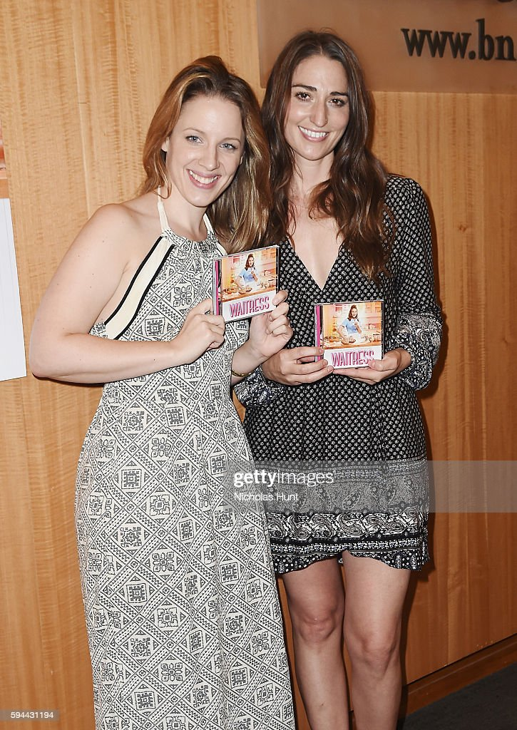 Jessie Mueller and Sara Bareilles from the cast of Cast of 'Waitress' performs songs from the Original Broadway Cast Recording at Barnes Noble 86th...