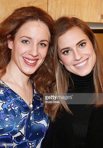 Jessie Mueller as 'Carole King' and Allison Williams pose backstage at the hit Carole King musical 'Beautiful' on Broadway at The Stephen Sondheim...
