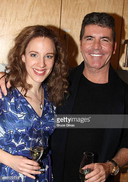 Jessie Mueller as 'Carole King' and Simon Cowell pose backstage at 'BEAUTIFUL The Carole King Musical' on Broadway at The Stephen Sondheim Theater on...