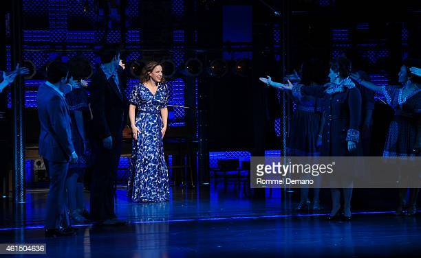 Jessie Mueller of 'Beautiful The Carole King Musical' celebrates 1 year on Broadway Curtain Call at Stephen Sondheim Theatre on January 13 2015 in...