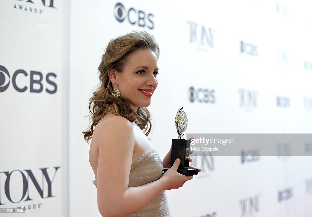 Jessie Mueller, winner of the award for Best Performance by an Actress in a Leading Role in a Musical for 'Beautiful', poses in a press room at the 68th Annual Tony Awards on June 8, 2014 in New York City.