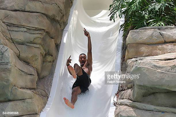 Jessie T Usher of Independence Day Resurgence is spotted on the water slide at Seminole Hard Rock Hotel Casino Hollywood on July 4 2016 in Hollywood...