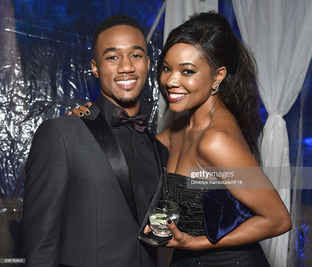Jessie Usher and Gabrielle Union attend the Bloomberg & Vanity Fair cocktail reception following the 2015 WHCA Dinner at the residence of the French Ambassador on April 30, 2016 in Washington, DC.