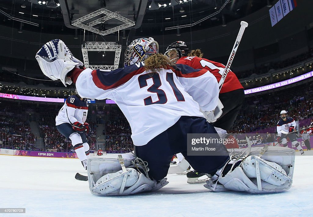 Jessie Vetter of United States tends goal against Canada during the Ice Hockey Women's Gold Medal Game on day 13 of the Sochi 2014 Winter Olympics at...