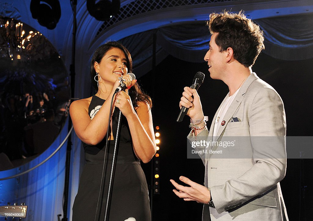 Jessie Ware (L) and Nick Grimshaw attend the BRIT Awards nominations announcement at The Savoy Hotel on January 10, 2013 in London, England.