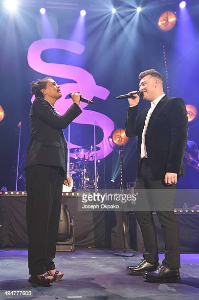 Jessie Ware and Sam Smith performs on stage at The Roundhouse on May 30 2014 in London United Kingdom