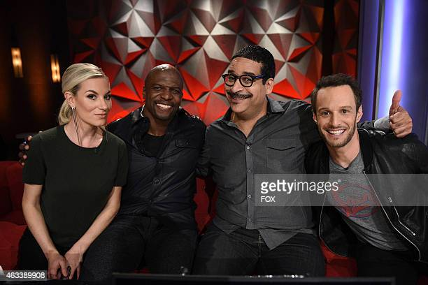 Jessimae Peluso Terry Crews Erik Griffin and Josh Wolf in the Series Premiere episode of WORLD'S FUNNIEST FAILS airing Friday Jan 16 2015 on FOX