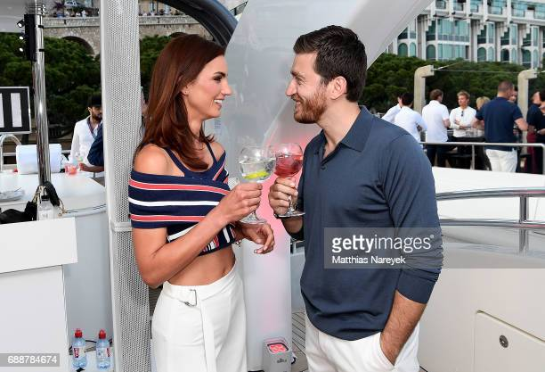 Jessiqa Pace and Alessandro Roja celebrate the Monaco Grand Prix at the Martini Yacht Party on May 26 2017 in Monte Carlo Monaco