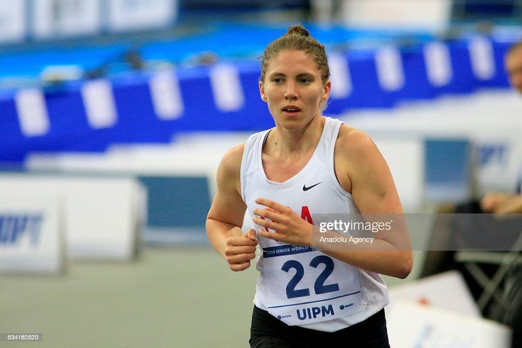 Jesssica Davis of United States competes in the Combined of the Women Qualifications at the UIPM senior modern pentathlon world championships in Moscow, Russia, on May 25, 2016.