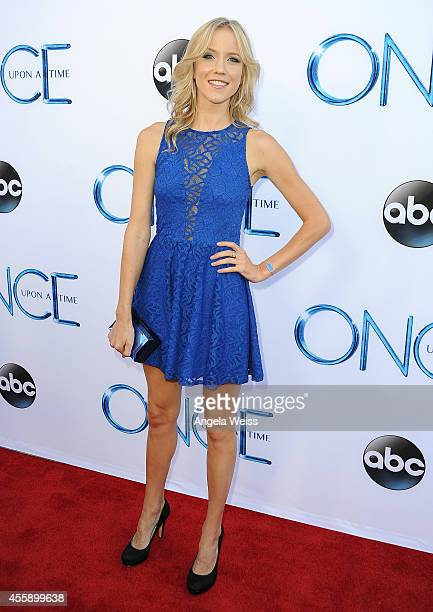 Jessy Schram attends ABC's 'Once Upon A Time' Season 4 red carpet premiere at the El Capitan Theatre on September 21 2014 in Hollywood California