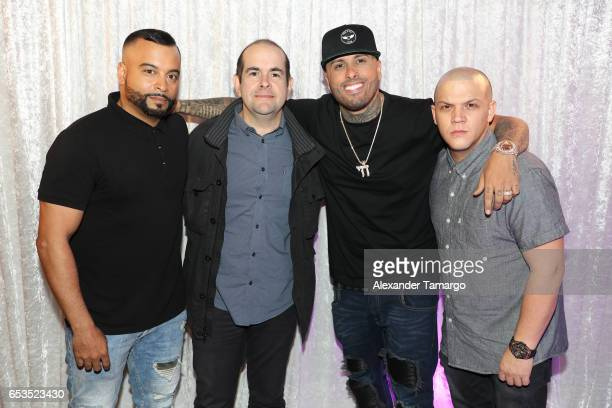 Jessy Terrero Sergio Pizzilante Nicky Jam and Juan Diego Medina are seen at Telemundo Studios where Nicky Jam announced that Telemundo would be...