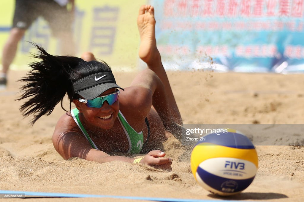 Jessyka Ngauamo of Australia in action with Louise Bawden of Australia during the match against Niina Ahtiainen and Anniina Parkkinen of Finland on Day 3 of 2017 FIVB Beach Volleyball World Tour Qinzhou Open on October 13, 2017 in Qinzhou, China.